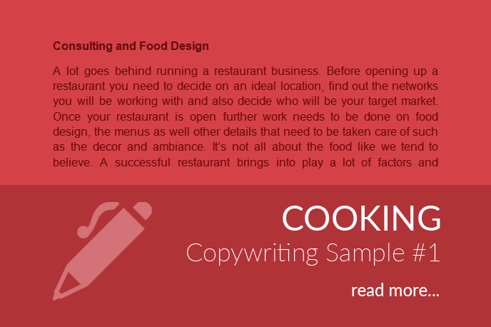Cooking Copywriting