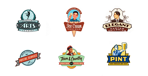 Vintage logo design samples